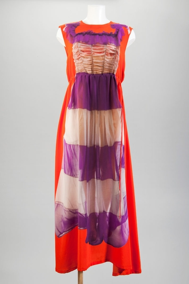 Digitally printed silk jersey dress, using vintage dress imagery.